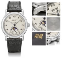 Patek Philippe. A superb and unique platinum perpetual calendar wristwatch with sweep centre seconds, phases of the moon and black hard enamel Breguet numerals